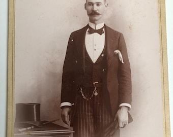 Victorian Hottie Vintage Photo Cabinet Card Magnificent Mustache, Top Hat, Gloves