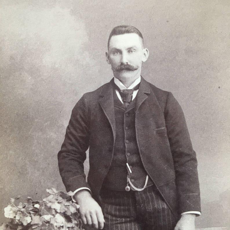Mustache Handsome Victorian Hottie Vintage Photo Cabinet Card image 0