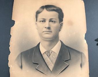 Large Shabby Vintage Photo Portrait Instant Ancestor Halloween Decor