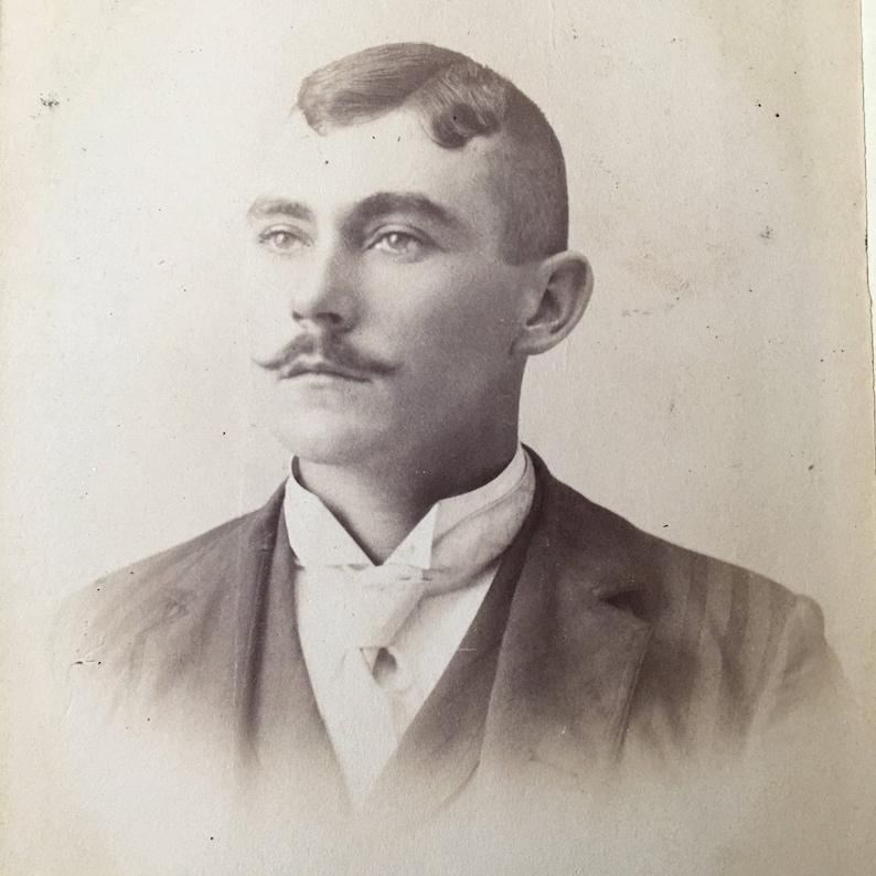 Handlebar Mustache Victorian Hottie Vintage Photo Cabinet Card image 0
