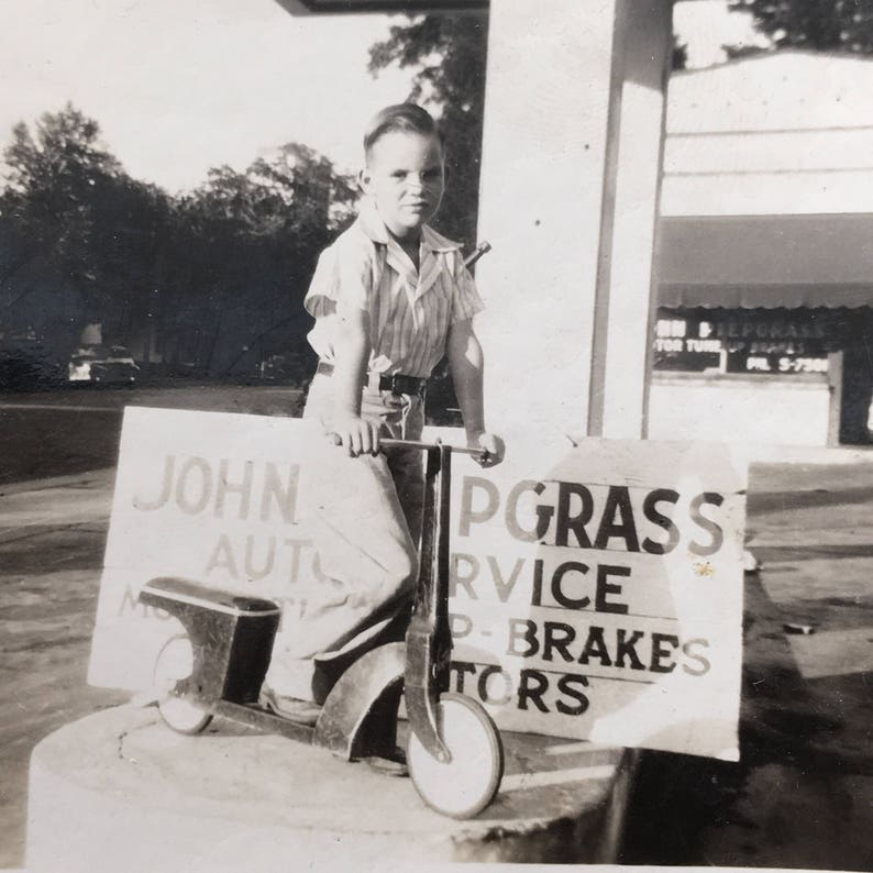 Little Boy on Scooter John Piepgrass on Scooter Vintage Photo image 0