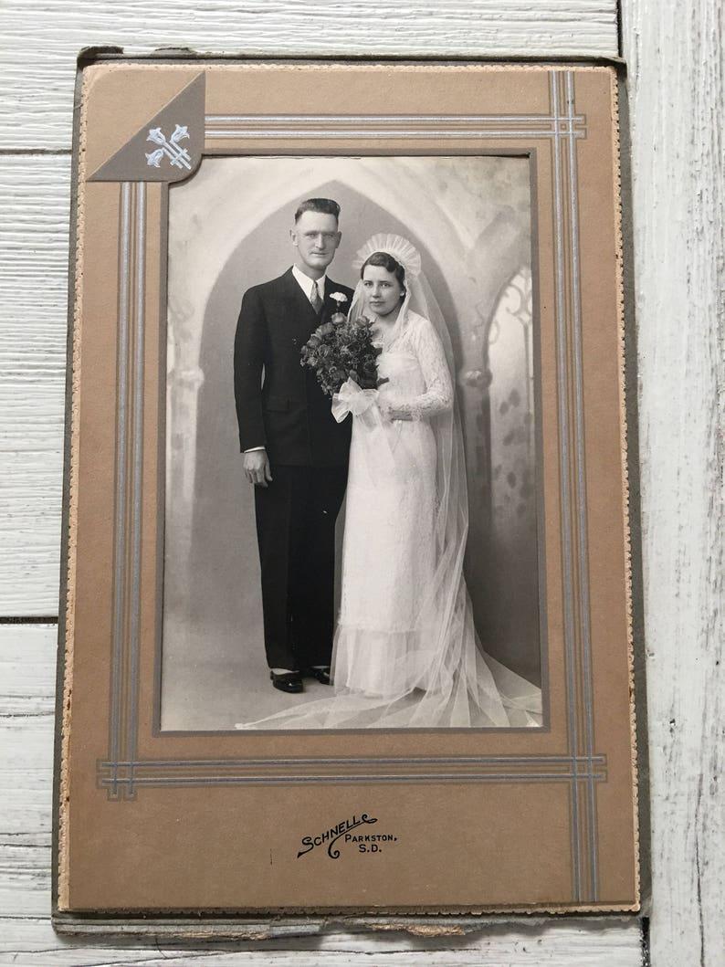 Vintage Wedding Photo Schnell Parkston SD Bride Groom image 0