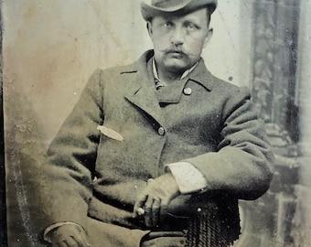 Handsome Man Antique Tintype Photo Sharp Dresser Dandy Trilby Hat