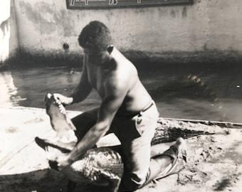 Alligator Wrestling Vintage Photo Native American Seminole, Miami FL