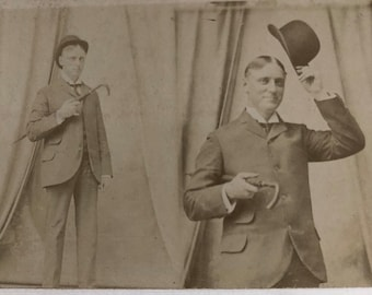 Antique Photo Double Exposure Sharp Dressed Man Derby Hat Cane Stayner Photo