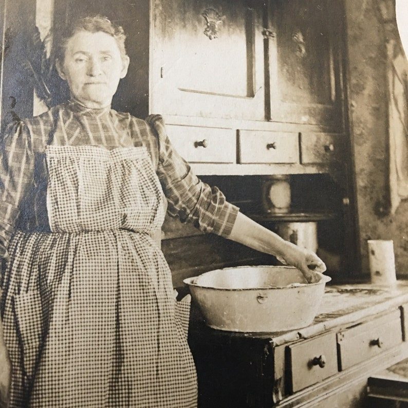 Granny in Kitchen Vintage Photo Hoosier Cabinet Enamel Bowl image 0