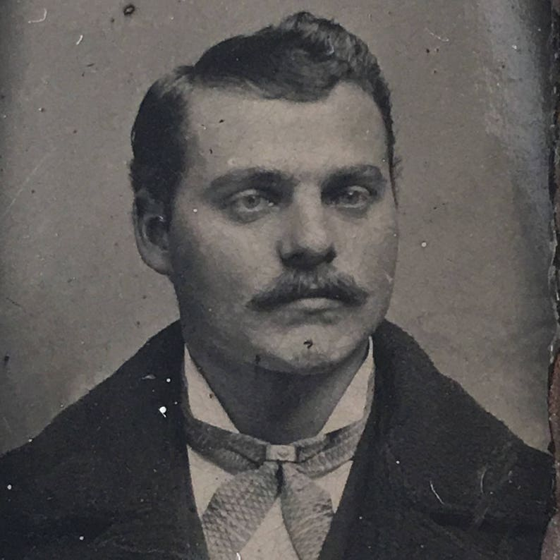 Man with Mustache Antique Tiny Gem Tintype Photo image 0