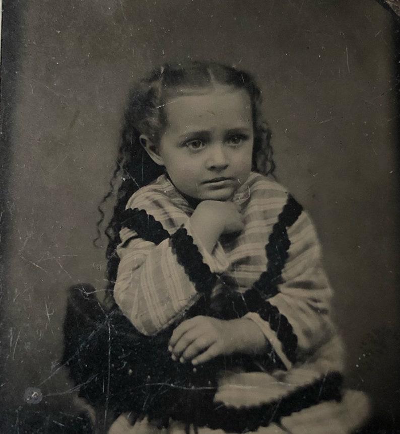Antique Tintype Photo: Little Girl of the Civil War Era image 0