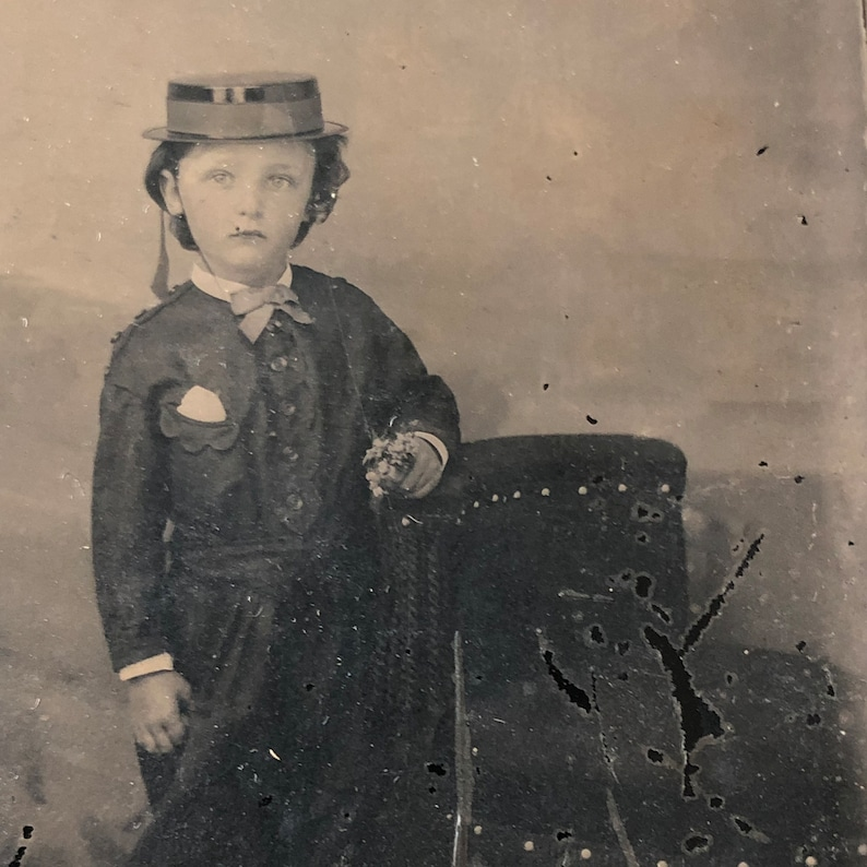 Antique Tintype Photo: Little Boy in Knickers Fashion of the image 0