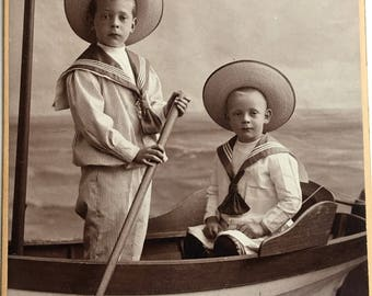 Little Sailor Boys in Boat M. H. Ladde Studio Cabinet Card Photo