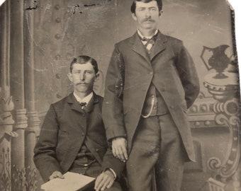 Antique Tintype Friendly Men Friends Companions Cousins