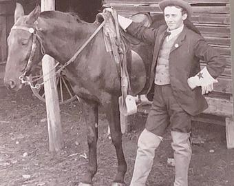 Ben Bradley, Cowboy Dude Horse Antique Card Mounted Photo 1800s