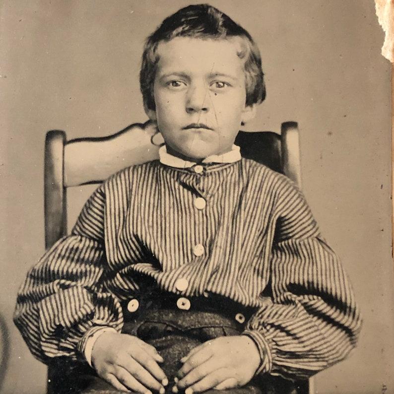 Antique Tintype Photo: Little Boy of the Civil War Era image 0
