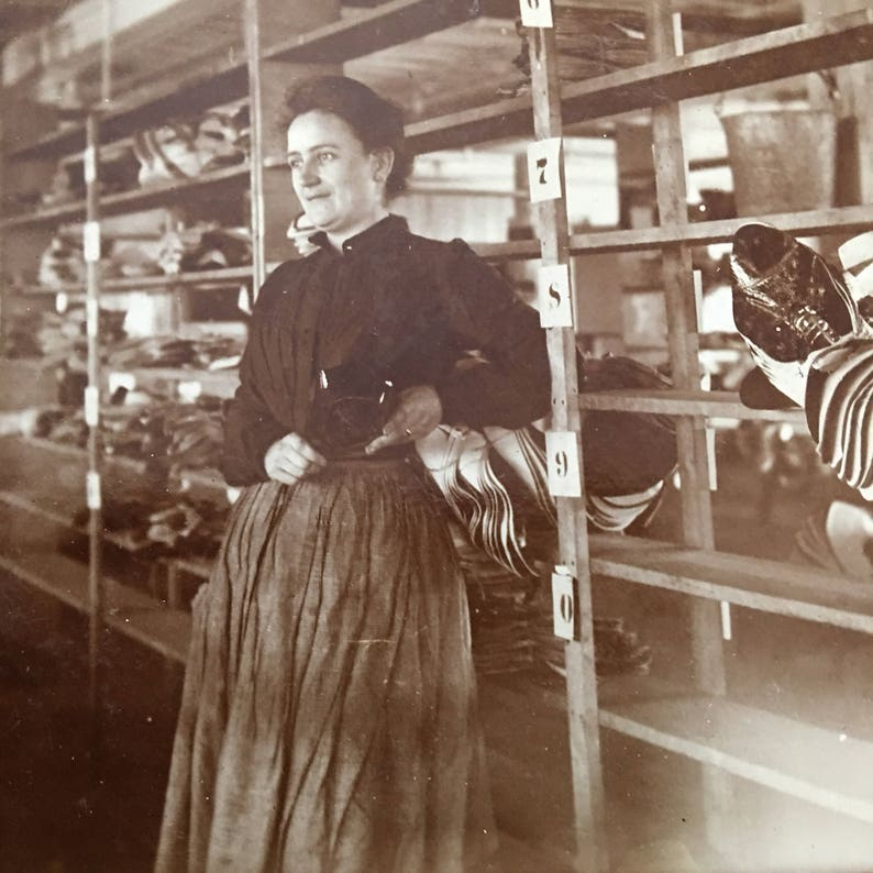 Woman Shoe Factory Employee Occupational Antique Photo image 0
