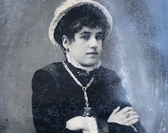 Young Woman in Hat & Necklace Antique Tintype Photo