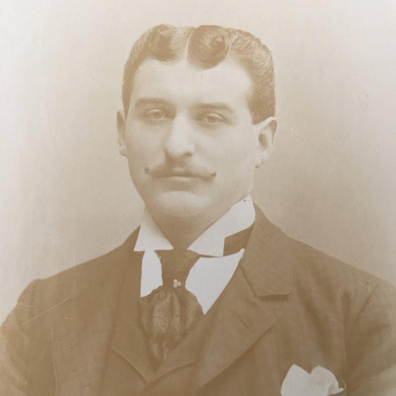 Curly Mustache & Hair Victorian Hottie Vintage Photo Cabinet image 0