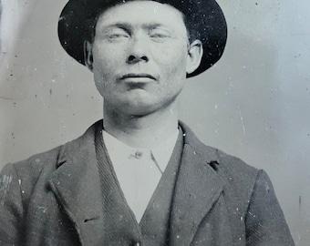 Cocky Man with Attitude Antique Tintype Photo Hat
