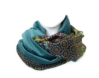 col snood femme tissu bleu klimt , echarpe infinie en velours et satin , 0cb2b257b81