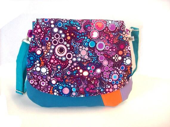 7d51e34d29 sac bandouliere bleu petrole et violet a motifs bulles sac a   Etsy