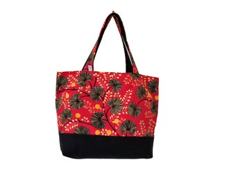 raspberry red tote bag black foliage canvas, handbag in upholstery fabric, tote bag, tote all vegan gift for her