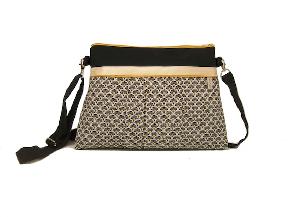 804638e889 black and white crossbody bag with fans shoulder bag in