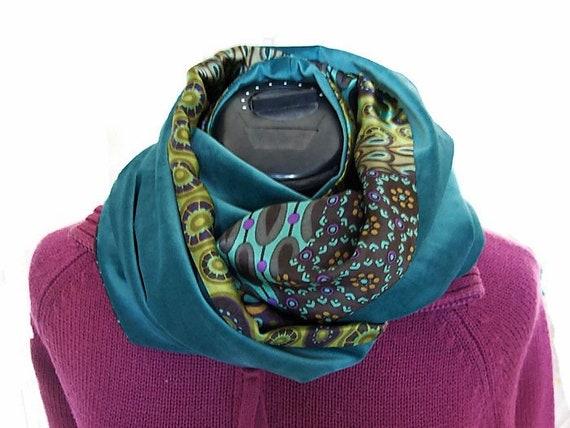 f7b0dbf4f166 col snood femme tissu bleu klimt echarpe infinie en velours   Etsy