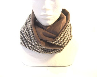 infinity scarf beige velvet and triangles women's cowl