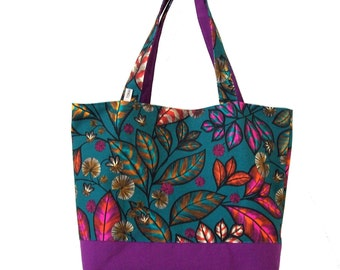 multi-foliage canvas bag, hand bag in upholstery, tote bag, tote all