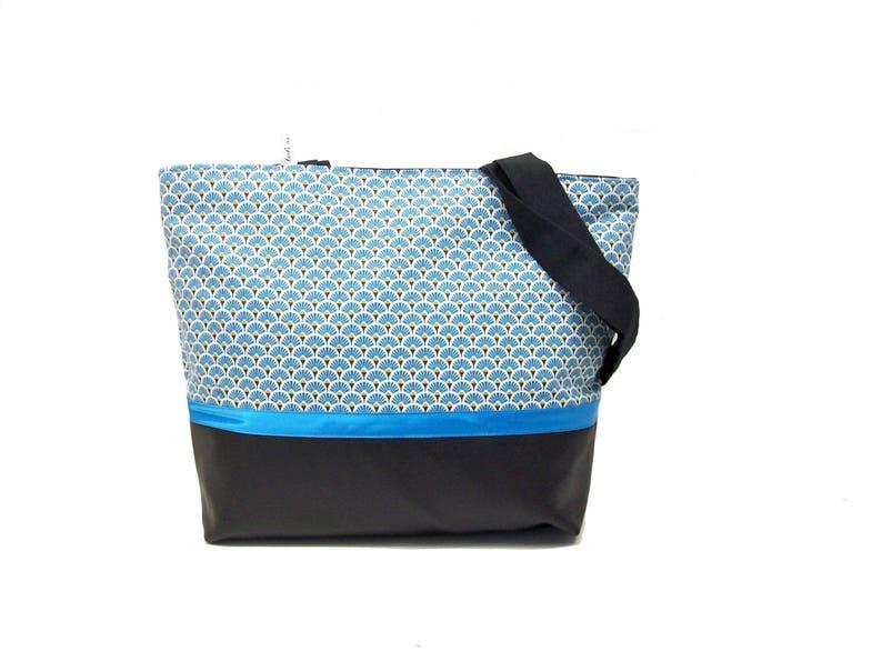 0aa0d41037 Sac cabas noir et bleu turquoise style scandinave sac | Etsy