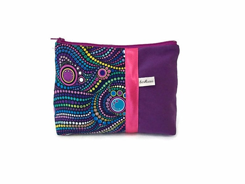 b6500d1a5618 make up bag purple fabric aborigene , cosmetic pouch in canvas and ethnic  cotton , zipper travel clutch , women gift
