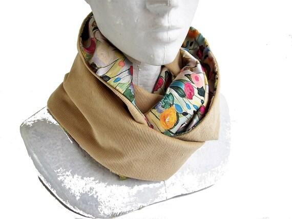 snood femme ivoire et fleurs pastel echarpe infinie en   Etsy 6cd709f0207