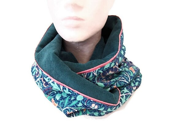 fe6586a43452 snood femme bleu vert et turquoise en velours et tissu   Etsy