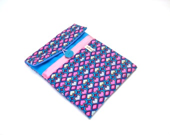 turquoise blue and pink ipad mini cover in fabric patterned graphic hearts, quilted pouch for 8-inch tablet, reader case