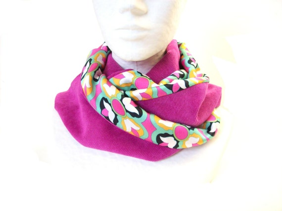 2be85ebdd826 snood femme rose et multicolore a motif floral echarpe   Etsy