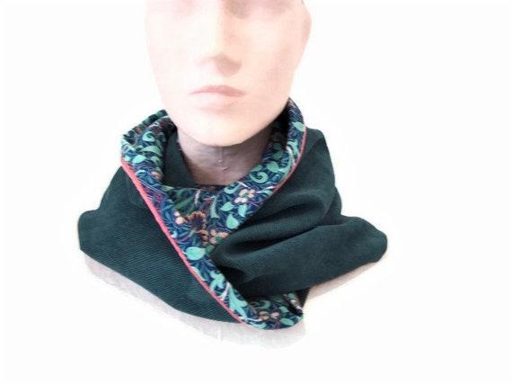 snood femme bleu vert et turquoise en velours et tissu   Etsy e8c1dd5f556