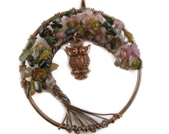 Purple Tourmaline Gemstone Tree and Owl Pendant Wire Wrapped (1)