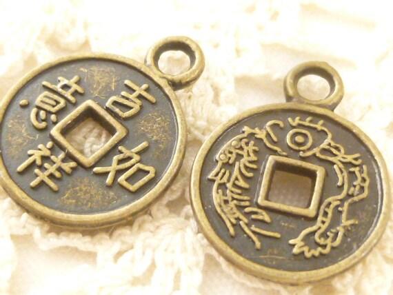 Chinesische Reichtum Münze Anschluss Glücksbringer Bronze Ton Etsy