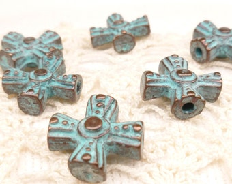Ornate Celtic Rosary Cross, Rustic, Patina Beads, Mykonos Casting Beads (2) -M6 - X2179