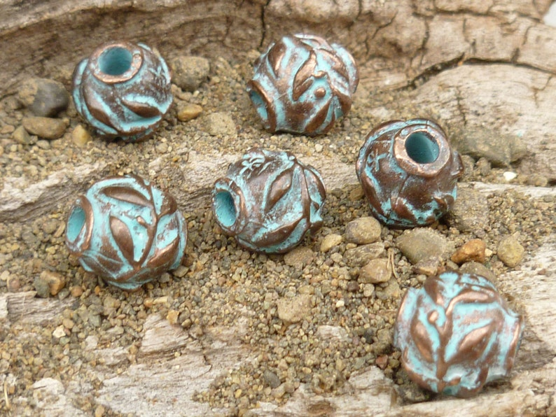 Mykonos Casting Beads - M59 Rustic Patina X2687 4 8mm Olive Leaves Spacer Beads