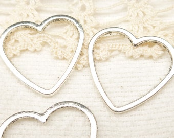 24mm Heart Solid Ring Connector Link Charm , Antique Silver (6) - SF53