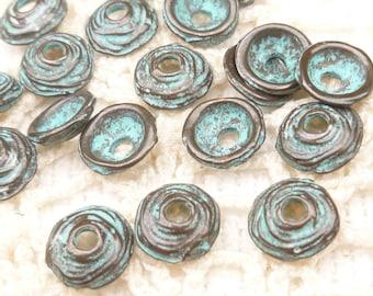 Small Swirl Bead Cap, Rustic, Patina, Mykonos Casting Beads (8) - M43 - X3333