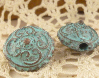 15mm Rustic Victorian Look Saucer Disc Spacer Bead, Patina Beads, Mykonos Casting Beads (2) - M2 - X3797