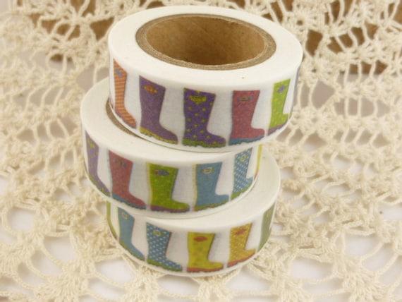 QQ1483 Washi Tape Multicolor Rain Boots Shoes Washi Tape 36 Sample Washi Tape or Full Roll