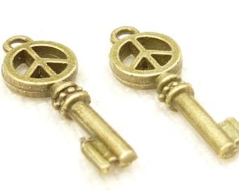 Peace Logo Symbol Key, Antique Bronze (6) - A45