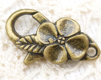 Bronze Flower Lobster Clasp Findings (4) - BF39