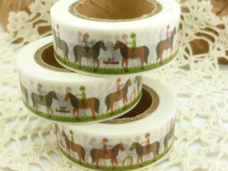 EE673 36 Sample Washi Tape or Full Roll Horseback Rider Washi Tape Horse Lover Washi Tape
