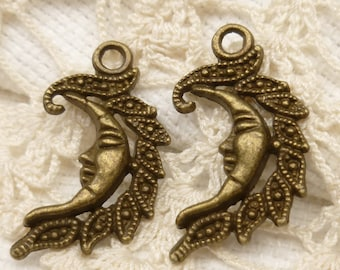 Antique Bronze Flaming Moon or Sun Charms (6) - A119
