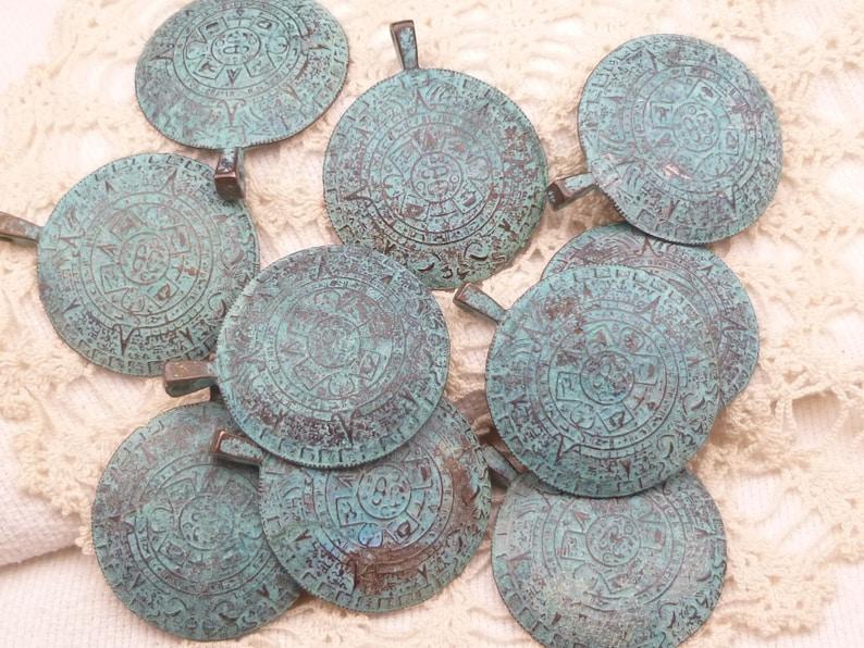 1 - M64 x5841 Rustic Blue Patina Mayan Calendar Pendant Mykonos Casting Pendant