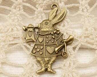 White Rabbit Alice in Wonderland Charm - Antique Bronze (4) - A120