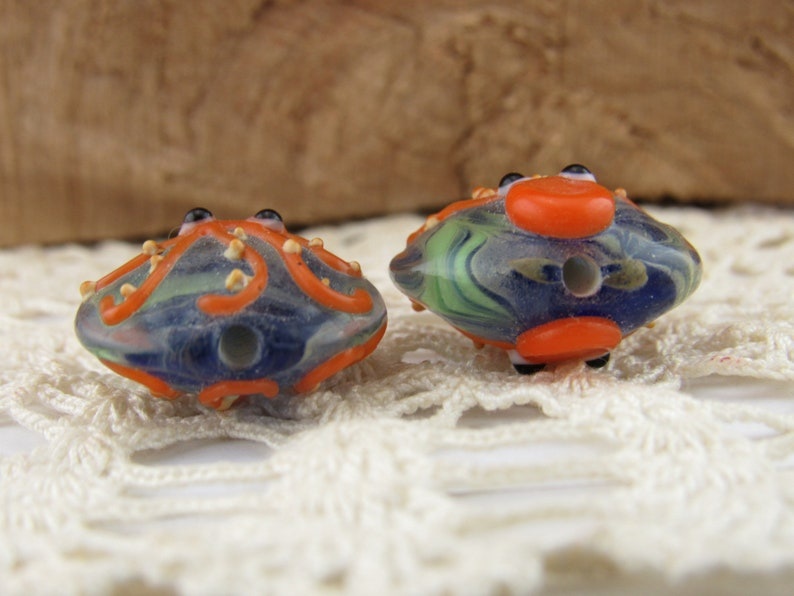 Orange and Blue Ocean Octopus Lampwork Beads 2